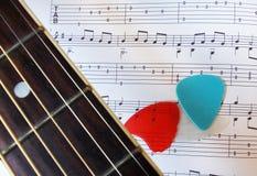 Gitarre fretboard, Auswahl und Musikblatt Lizenzfreie Stockbilder