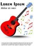 Gitarre mehrfarbig in den klaren Farben, farbige ungleiche verteilte musikalische Anmerkungen Broschüre, Flieger, Bucheinbandscha stock abbildung
