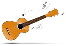 Gitarre mit abstrakter Anmerkung Lizenzfreie Stockbilder