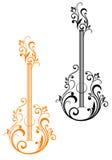 Gitarre mit Blumenverschönerungen Stockfotos