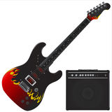 Gitarre und Ampere-Vektor Stockfotos