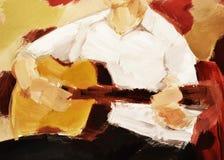 Gitarre und Musik und pasion und Kleidung a Stockbild
