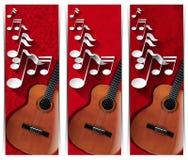Gitarre und musikalische Anmerkungen - drei Fahnen lizenzfreie abbildung