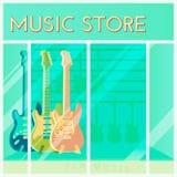 Gitarren für den Verkauf, der in einem Musikspeicher hängt Einkaufshintergrund ?berlagert, einfach zu bearbeiten Kleinschaufenste vektor abbildung