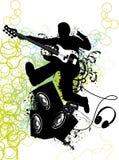 gitarren hoppar spelare Arkivfoto