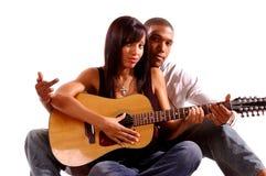 Gitarren-Lektion Stockfoto