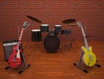 Gitarren mit Trommeln auf dem Stadium Lizenzfreie Stockbilder