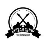 Gitarren shoppar logo med korsningen gitarrer stock illustrationer