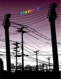 Gitarren und Drähte mit Vögeln Stockbilder