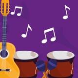 Gitarren- und timbalsinstrumente musikalisch lizenzfreie abbildung