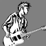 Gitarrenmannspielmusik-Grafikgegenstand Stockbilder