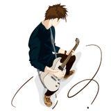 Gitarrenmannspielmusik-Grafikgegenstand Lizenzfreies Stockfoto