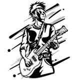 Gitarrenmannspielmusik-Grafikgegenstand Lizenzfreie Stockfotos