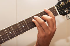 Gitarrenspannweite F Stockfoto