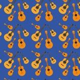 Gitarrer mönstrar i mörker - blå bakgrund stock illustrationer