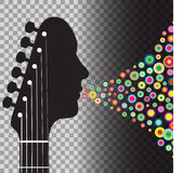 Gitarrheadstockman med cirklar Arkivfoto