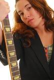 gitarrholdingkvinna Arkivfoton