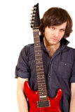 Gitarrist, der seine Gitarre anhält Lizenzfreie Stockbilder