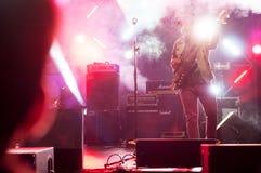 Gitarrist i mist arkivbild