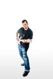 Gitarrist Musician på vit solo fotografering för bildbyråer