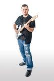 Gitarrist Musician på vitvinkelframåt fotografering för bildbyråer