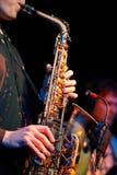Gitarrist- och saxofonistduett i konserten royaltyfri foto