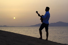 Gitarrist på soluppgång på stranden arkivbilder