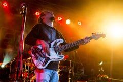 Gitarrist som direkt utför på etapp royaltyfri foto
