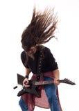 gitarrist som headbanging arkivbild