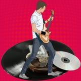 Gitarrist, Vinyl und Audiokassette Illustration für Gitarre basierte Konzerte und Musik Lizenzfreie Stockbilder