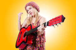 Gitarristfrau Stockbild