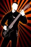 Gitarristschattenbild auf abstraktem Hintergrund Stockbild