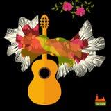 Gitarrkontur och spansk sjal i form av flygfågeln som flamencosymboler som isoleras på svart bakgrund i vektor vektor illustrationer