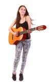 Gitarrkvinna Royaltyfri Fotografi