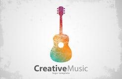 GITARRLOGO idérikt musik Design stock illustrationer