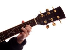 gitarrmajor för ackord D royaltyfria bilder