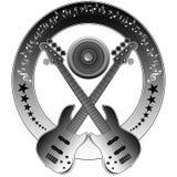 gitarrmusikanmärkningar Arkivfoto
