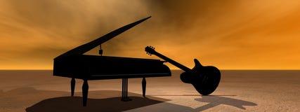 gitarrpiano royaltyfri illustrationer