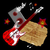 gitarrred Royaltyfri Fotografi