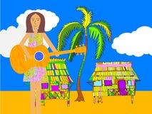 Gitarrspelare på en strand En serenader eller en welcomer Arkivbilder