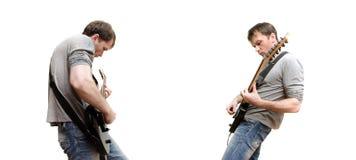Gitarrspelare som spelar tung musik Royaltyfri Fotografi