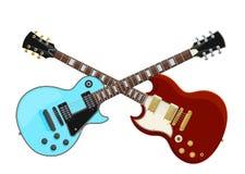 Gitarrstridbegrepp Två korsade elektriska gitarrer vektor illustrationer