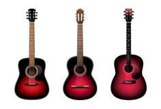 gitary akustyczne trzy Obraz Royalty Free