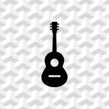 Gitary akustycznej szyldowa ikona kuli ziemskiej hełmofonów muzyczny symbol akcyjny wektorowy ilustracyjny płaski projekt ilustracji