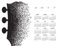 2017 gitary kalendarzowy headstock robić muzykalne notatki Obrazy Stock