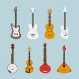Gitary mieszkania set łatwe tło ikony zamieniają przejrzystego cienia wektor Obrazy Stock