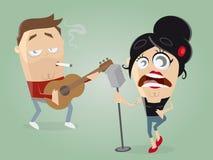 Gitarzysta i żeński piosenkarz royalty ilustracja