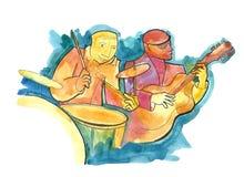 Gitarzysta i dobosz ilustracja wektor