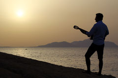 Gitarzysta przy wschodem słońca na plaży Obrazy Stock