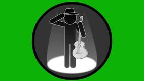 Gitarzysta wykonuje na scenie Sceny ?wiat?o, dym Alfa chanel ikona zbiory